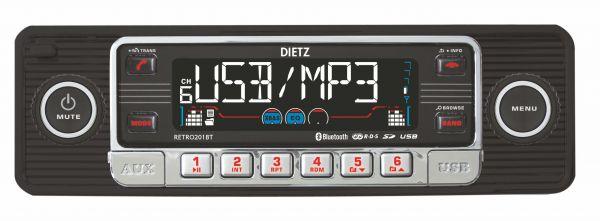 DIETZ RETRO 201 BT Bluetoothos USB-s CD/MP3 autórádió képe