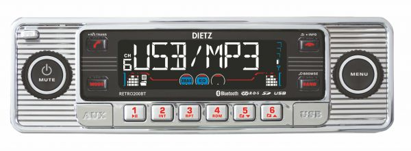 DIETZ RETRO 200 BT Bluetoothos USB-s CD/MP3 autórádió képe
