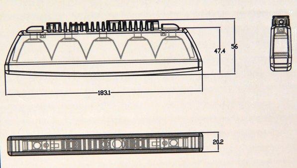 DRL-05 SLIM 5 ledes menetfény méretei