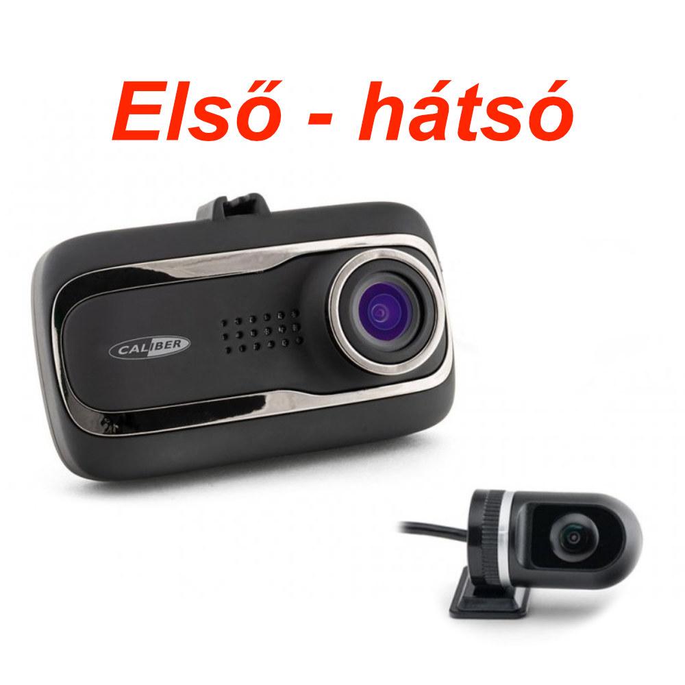 CALIBER Első - Hátsó menetrögzítő kamera GPS funkcióval