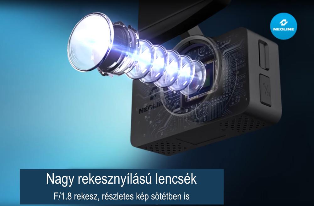 NEOLINE G-Tech X-76 PREMIUM első - hátsó menetrögzítő kamera 1.8 rekesszel a kíváló éjszakai felvételekhez
