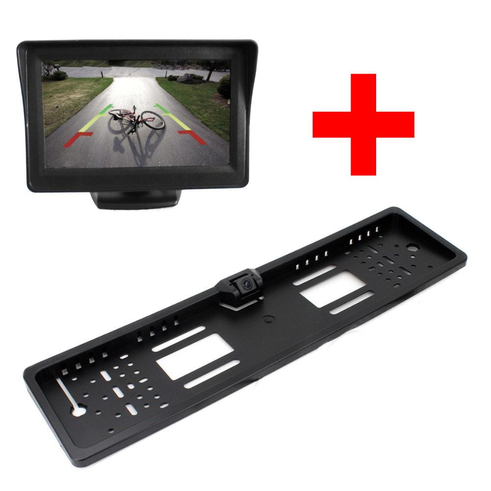 PMS rendszámkeretes tolatókamera + PMS TM-02 talpas kis monitor szett képe