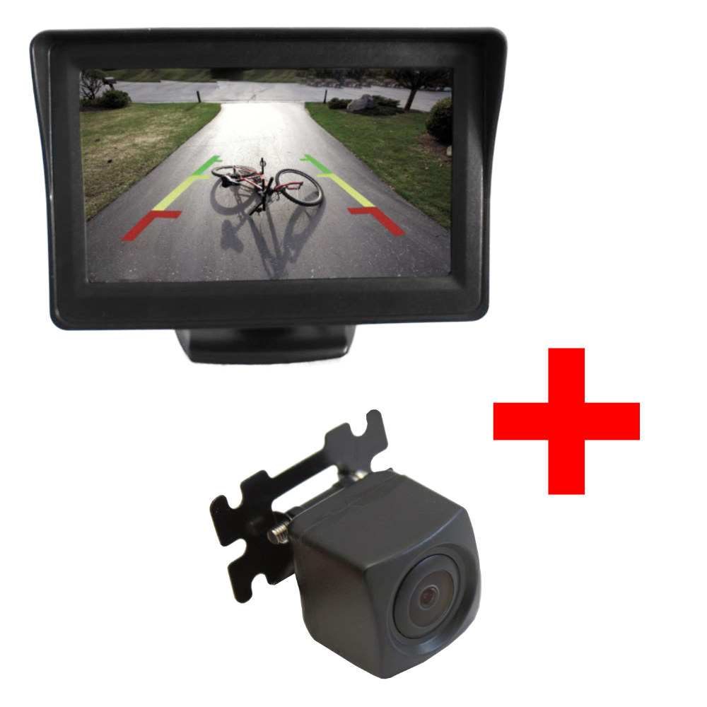 PT kis konzolos tolatókamera + PMS TM-02 talpas kis monitor szett képe